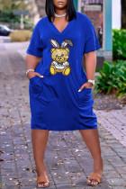 Blue Fashion Casual Character Basic V Neck Loose Dress