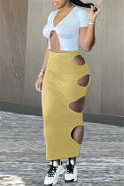 Yellow Fashion Sexy Solid Hollowed Out Asymmetrical V Neck Short Sleeve Two Pieces