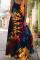 Black Yellow Sexy Casual Print Split Joint Square Collar Cake Skirt Dresses