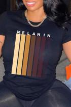 Black Fashion Casual Print Basic O Neck T-Shirts
