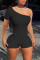 Black Sexy Casual Solid Backless Oblique Collar Skinny Romper
