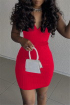 Red Sexy Casual Solid With Belt V Neck Vest Dress