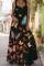 Black Sexy Casual Print Split Joint Square Collar Cake Skirt Dresses