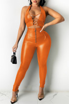 Orange Fashion Sexy Solid Hollowed Out Backless Halter Sleeveless Two Pieces