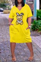 Yellow Fashion Casual Character Basic V Neck Loose Dress