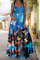 Blue Sexy Casual Print Split Joint Square Collar Cake Skirt Dresses