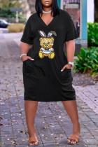 Black Fashion Casual Character Basic V Neck Loose Dress