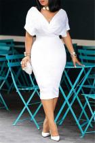 White Fashion Solid Beading V Neck Short Sleeve Dress