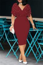 Burgundy Fashion Solid Beading V Neck Short Sleeve Dress