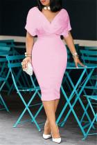 Pink Fashion Solid Beading V Neck Short Sleeve Dress