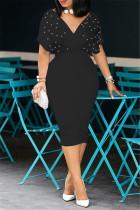 Black Fashion Solid Beading V Neck Short Sleeve Dress