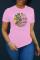 Pink Fashion Casual Print Basic O Neck T-Shirts