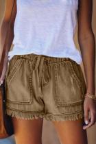 Khaki Fashion Casual Regular Solid Jeans