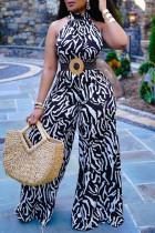 Black Fashion Casual Print Without Belt Turtleneck Regular Jumpsuits