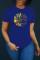 Blue Fashion Casual Print Basic O Neck T-Shirts
