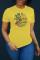 Yellow Fashion Casual Print Basic O Neck T-Shirts