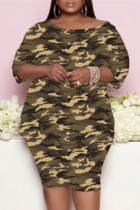 Camouflage Fashion Casual Camouflage Print Basic O Neck Three Quarter Two Pieces