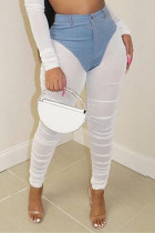 White Sexy Casual Patchwork See-through Skinny High Waist Pencil Trousers