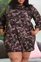 Camouflage Fashion Casual Plus Size Camouflage Print Basic O Neck Long Sleeve Dress