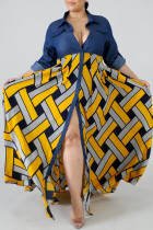 Yellow Fashion Plus Size Print Split Joint Turndown Collar Short Sleeve Dress