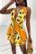 Yellow Sexy Print Split Joint Frenulum Swimwears