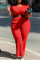 Red Casual Solid Split Joint O Neck Plus Size Two Pieces