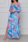 Light Blue Sexy Print Split Joint Off the Shoulder Straight Dresses