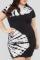Black Casual Print Split Joint O Neck Pencil Skirt Plus Size Dresses