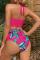 Deep Pink Sexy Print Split Joint Swimwears