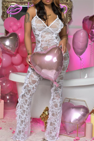 White Fashion Sexy Solid See-through Backless Spaghetti Strap Skinny Jumpsuits