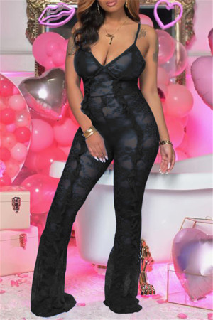 Black Fashion Sexy Solid See-through Backless Spaghetti Strap Skinny Jumpsuits