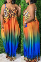 Orange Sexy Casual Plus Size Print Backless Spaghetti Strap Sleeveless Dress