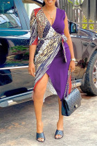 Purple Fashion Casual Print Split Joint V Neck Irregular Dress