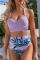 Purple Sexy Print Split Joint Swimwears