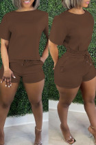 Brown Fashion Casual Solid Basic O Neck Short Sleeve Two Pieces