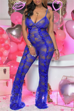 Blue Fashion Sexy Solid See-through Backless Spaghetti Strap Skinny Jumpsuits