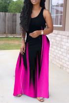Purple Fashion Sexy Print Basic O Neck Vest Dress