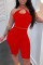 Red Fashion Sexy Solid Hollowed Out Backless Halter Sleeveless Two Pieces