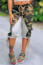 Army Green Fashion Casual Camouflage Print Split Joint Regular Mid Waist Pants
