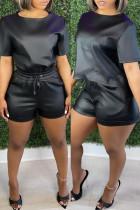 Black Fashion Casual Solid Basic O Neck Short Sleeve Two Pieces