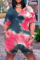Pink Fashion Casual Print Tie Dye Basic V Neck Plus Size Romper