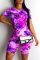 Purple Casual Print Split Joint O Neck Short Sleeve Two Pieces