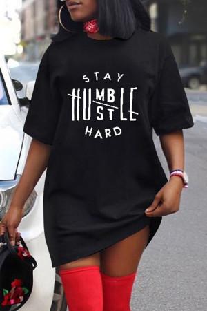 Black Fashion Casual Letter Print Basic O Neck Short Sleeve T-shirt Dress