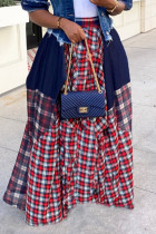 Red Fashion Casual Plaid Print Split Joint Regular High Waist Skirt