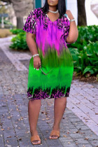 Purple Fashion Casual Print Basic V Neck Short Sleeve Dress