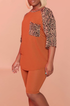 Tangerine Red Casual Leopard Split Joint O Neck Short Sleeve Two Pieces