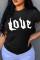 Black Fashion Casual Letter Print Basic O Neck T-Shirts