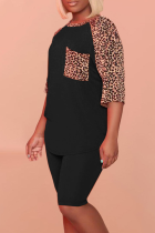 Black Casual Leopard Split Joint O Neck Short Sleeve Two Pieces