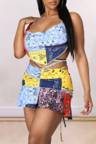 Multicolor Fashion Sexy Print Backless Strap Design Halter Sleeveless Two Pieces
