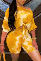 Yellow Fashion Casual Tie Dye Printing Oblique Collar Short Sleeve Two Pieces
